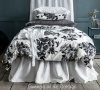 SHABBY NEW YORK CHIC SOHO LOFT URBAN FLOWERS BLACK GRAY WHITE DUVET COMFORTER COVER SET