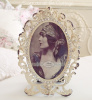 VICTORIAN RHINESTONES ROSES CREAMY TAUPE PARIS FLEA MARKET VINTAGE CHIC PICTURE PHOTO FRAME