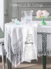 SHABBY FRENCH COTTAGE CHIC COTTON WHITE FRINGED TABLECLOTH