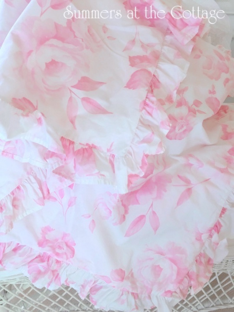PINK VINTAGE ROSES RUFFLED EURO SHAMS AND KING DUVET SHABBY CHIC HOUSE INC