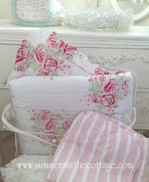 4 PC SHABBY COTTAGE CHIC PINK ROSES RUFFLE COMFORTER PILLOW SHAM BED SKIRT VALANCE