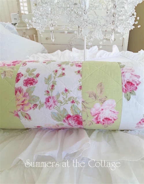PINK PEONY ROSES PATCHWORK APPLE GREEN BOLSTER NECK ROLL PILLOW
