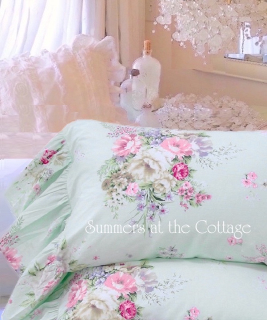 AQUA MINT PINK ROSES RUFFLE PILLOWCASES SHABBY COTTAGE CHIC