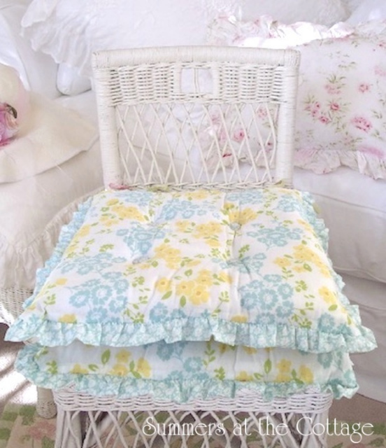 AQUA YELLOW FLOWERS RUFFLED CHAIR CUSHIONS BEACH COTTAGE CHIC