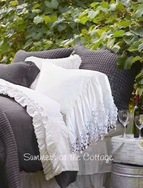 FRENCH CHATEAU WHITE LACE RUFFLED PILLOWCASES FOR YOUR SHABBY COTTAGE CHIC HOME