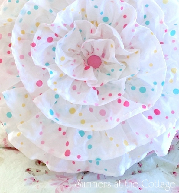 DARLING SHABBY FRENCH RUFFLES CHIC ROUND PILLOW PINK AQUA POLKA DOTS
