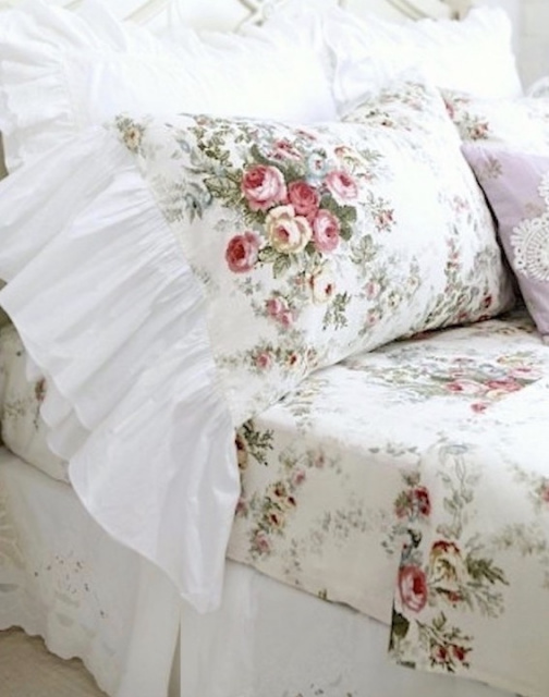 SHABBY FRENCH COTTAGE CHIC ROSES WILDFLOWERS RUFFLED PILLOW SHAMS