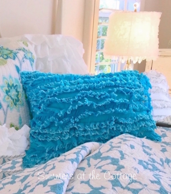 SUMMER HOUSE BEACH COTTAGE TURQUOISE BLUE RUFFLED PILLOW SHAM