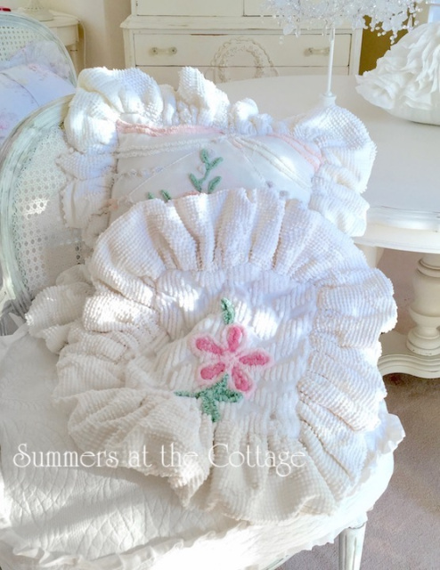 Vintage Chenille Pink Rose Flower Big Ruffle Pillow Cover