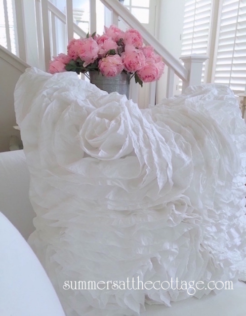 SHABBY COTTAGE CHIC FLUFFY WHITE ROSE RUFFLES PILLOW