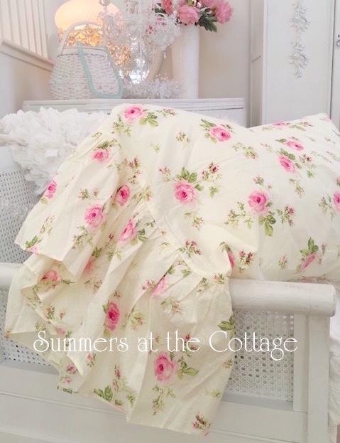 Rachel Ashwell Simply Shabby Chic Blue Crochet Cabana Stripe rose Sheet duvet