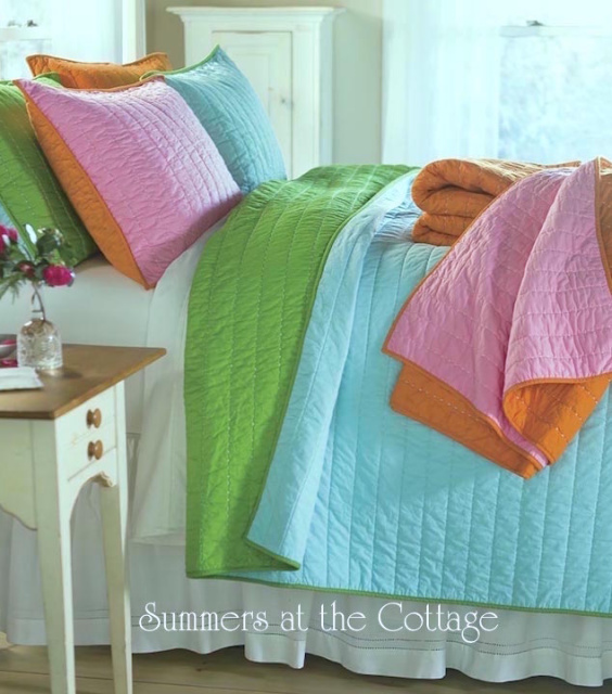 AQUA TURQUOISE LIME GREEN NOSTALGIA PICKSTITCH BEDDING SHABBY BEACH CHIC