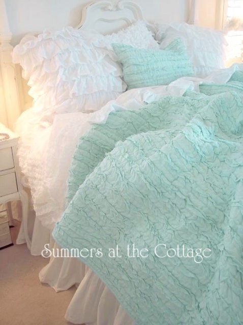 QUEEN SHABBY ROMANTIC COTTAGE MINT GREEN CHIC DREAMY RUFFLES QUILT & SHAMS