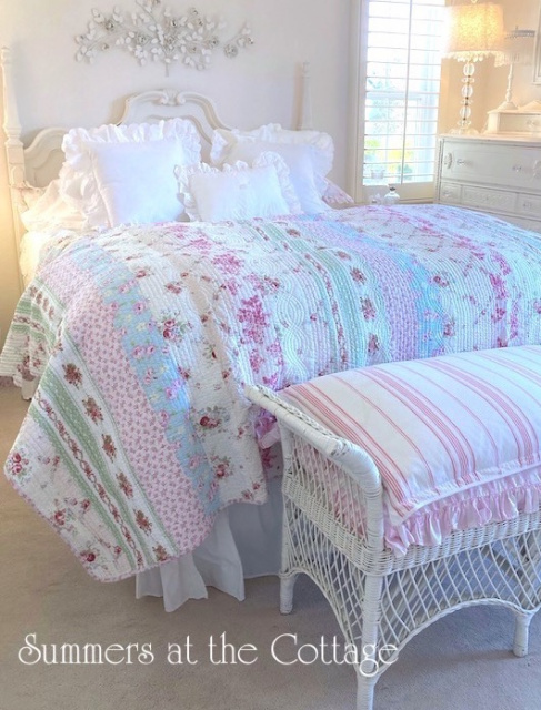 SUMMERS COTTAGE COLORS PATCHWORK QUILT SET PINK ROSES BEACH HOUSE BLUE QUEEN or KING QUILT & SHAMS