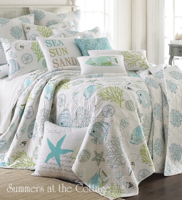 COASTAL COTTAGE SEASHELLS OCEAN LIFE AQUA BLUE TROPICAL ISLAND KING QUILT SET