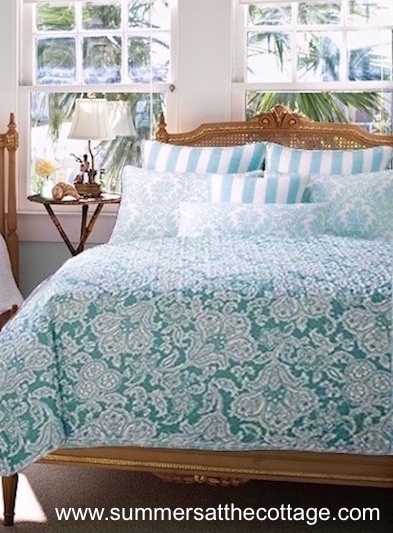 SUMMER BEACH HOUSE BAHAMA AQUA TEAL SEA BLUE CABANA STRIPE QUILT & PILLOW SHAMS SET