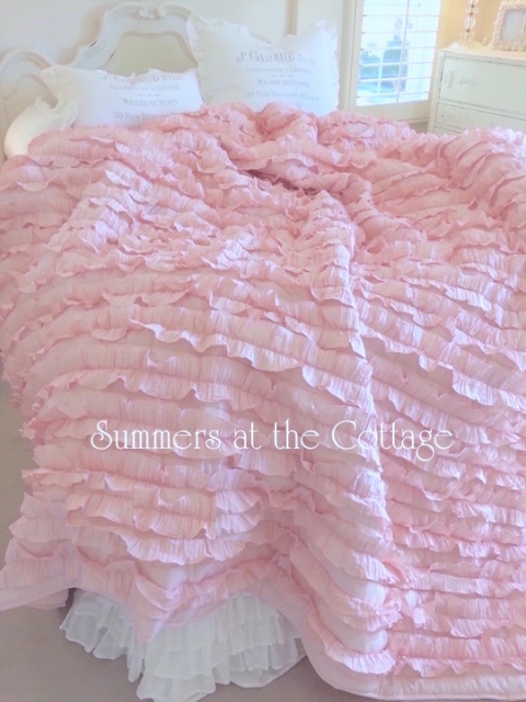 DUSTY ROSE SHABBY PETTICOAT CHIC RUFFLES QUILT SET