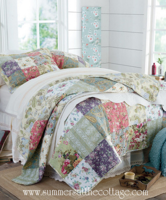 FARMHOUSE COTTAGE FRENCH COUNTRYSIDE QUILT SET PILLOW SHAMS - KING or QUEEN
