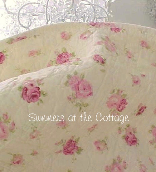 SHABBY COTTAGE CHIC PINK ROSES ROSEBUD QUILT & PILLOW SHAMS BUTTER YELLOW