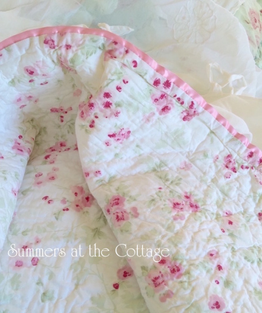 SHABBY CHIC PINK BABY ROSE CHERRY BLOSSOM THROW BLANKET COTTAGE CHIC