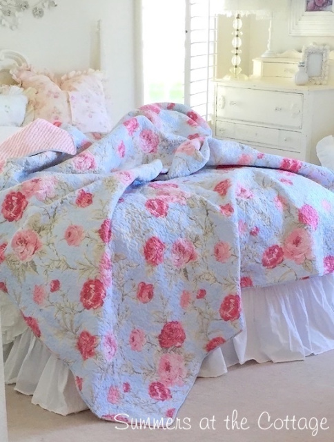 TIFFANY ICE BLUE COTTAGE PINK ROSES CABANA STRIPE QUEEN BEDDING QUILT SET