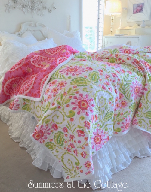 WALKING ON SUNSHINE BEDDING PINK YELLOW ORANGE COTTAGE GREEN QUEEN QUILT SET