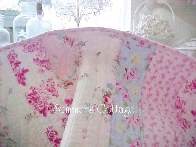 FULL QUEEN SHABBY BELLA BLUE PINK ROSES COTTAGE CHIC QUILT SET