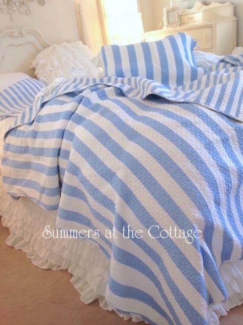 Beach House Blue Coastal Cottage Cabana Stripes Quilt Set