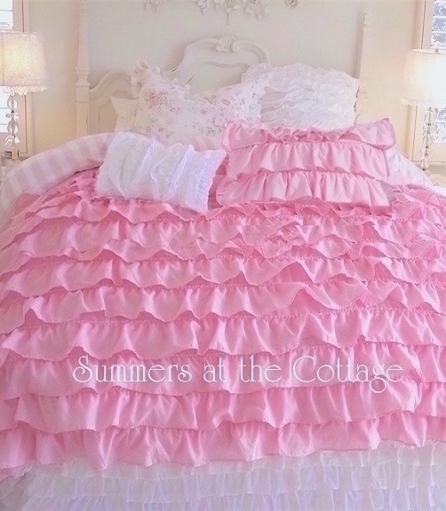 PERFECTLY PINK DREAMY RUFFLES SHABBY COTTAGE CHIC COMFORTER QUILT SET