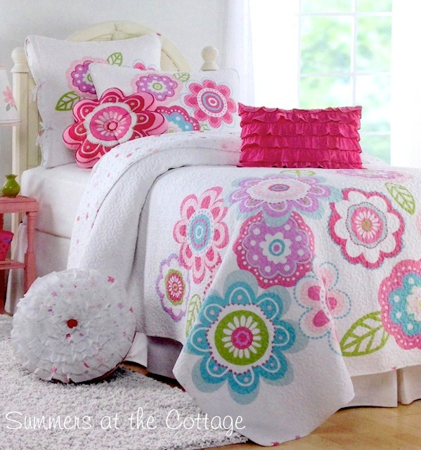 HELLO SUNSHINE FLOWERS TURQUOISE BLUE LAVENDER PINK BLOOMS QUILT SET - TWIN OR FULL QUEEN
