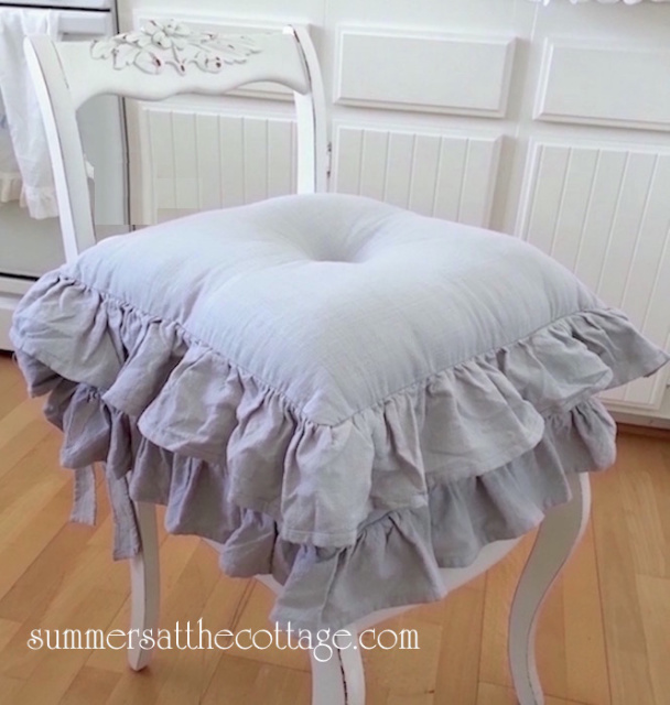 GRAY RUFFLED CHAIR SEAT CUSHION SHABBY COTTAGE FRENCH COUNTRY FARMHOUSE CHIC