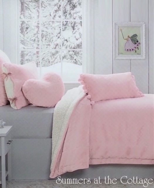 PINK PARFAIT WINTER WHITE SHERPA SOFT COZY QUEEN COMFORTER SET