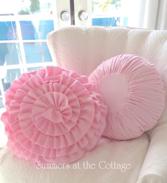 PRETTY PINK VELVET ROUND RUFFLES RUCHED SHABBY COTTAGE CHIC PILLOWS