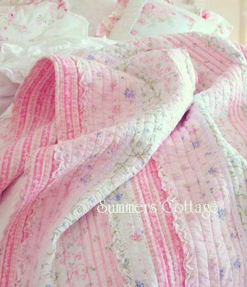 COTTAGE POTTERY PINK ROSES & RUFFLES WHITE LACE QUILT SET - TWIN, QUEEN or KING