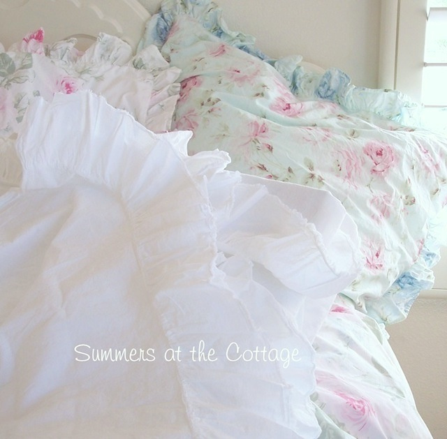 WHISPERING WHITE COTTON RUFFLE SHEETS - TWIN, QUEEN or KING