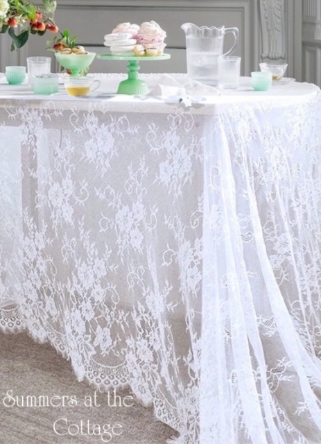 SHABBY COTTAGE WHITE VINTAGE ROSES LACE NETTING CHIC TABLECLOTH