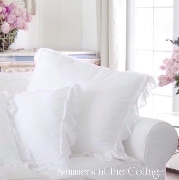 SUMMERS COTTAGE COLLECTION SNOW WHITE RUFFLED ACCENT PILLOW
