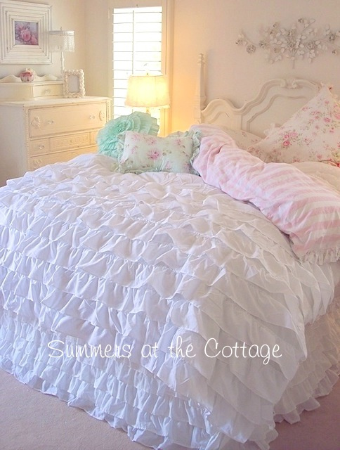 BEACH COTTAGE CHIC DREAMY WHITE RUFFLES COMFORTER SET - Queen or King