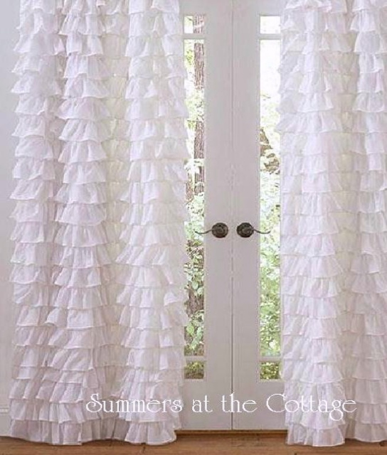 Set Of 2 Shabby Beach Cottage Chic White Petticoat Ruffle Curtains Drape Panels 96 View Images