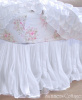 PRETTY WHITE SHEER COTTON LINED GATHERED BEDSKIRT