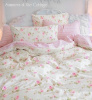 PINK ROSES CABANA STRIPES SOFT YELLOW DUVET COMFORTER COVER SET