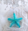 Shabby Coastal Chic Starfish Aqua Turquoise Glass Star Glitter Christmas Ornament