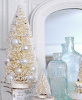 SHABBY VINTAGE SNOW BOTTLE BRUSH CHRISTMAS TREE COTTAGE CHIC HOLIDAY ORNAMENTS