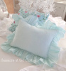 BELLA NOTTE LINEN RUFFLE PILLOW CARIBBEAN EMBROIDERED ROSES COTTAGE CHIC