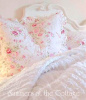 SHABBY COTTAGE CHIC PINK ROSES ROSEBUDS WILDFLOWERS RUFFLED EURO SHAMS - SET OF 2