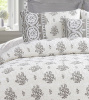 DOVE GRAY WHITE VINTAGE ROSES FLOWER BASKETS QUILT SET - QUEEN or KING