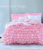 DREAMY PINK RUFFLES SHABBY COTTAGE CHIC TWIN or FULL / QUEEN QUILT SET