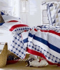 NANTUCKET RED BUNGALOW WHITE COTTAGE SEASIDE BLUE BEDDING KING QUILT SET