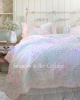 PASTEL PATCHWORK RUFFLES PINK ROSES MINT GREEN FLORAL QUILT SET - Twin, Queen or King