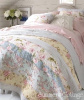 COTTAGE CHIC SUMMER YELLOW PINK ROSES BLUE FLOWERS QUEEN QUILT & PILLOW SHAM